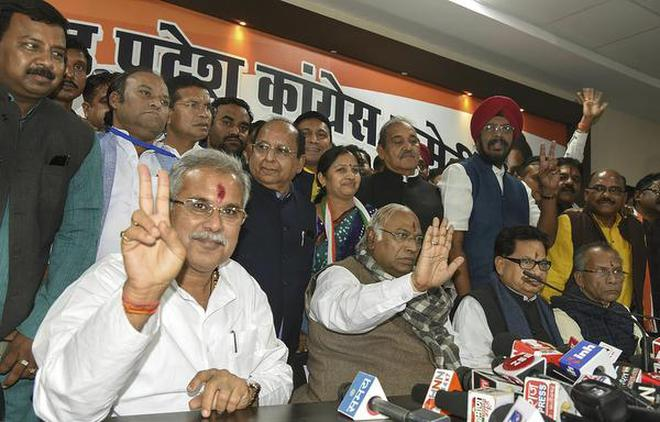 Chhattisgarh Chief Minister-designate Bhupesh Baghel, senior Congress leader Mallikarjun Kharge, Congress State in-charge P.L. Punia and others during a press conference after the Congress Legislature Party meeting in Raipur on December 16, 2018.