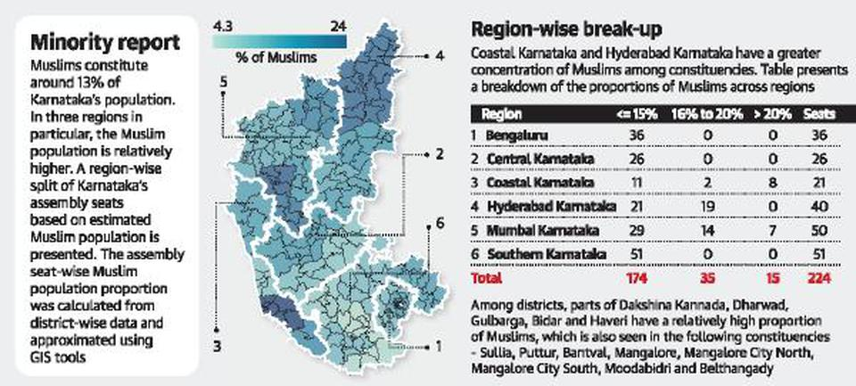 Map of % Muslim voters by constituency