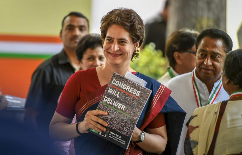 Congress General Secretary and Uttar Pradesh - East incharge Priyanka Gandhi Vadra during the release of party's manifesto for Lok Sabha polls 2019, in New Delhi, Tuesday, April 02, 2019.