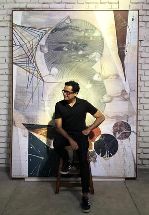 Of scale and proximity: Jitish Kallat in front of one of his paintings