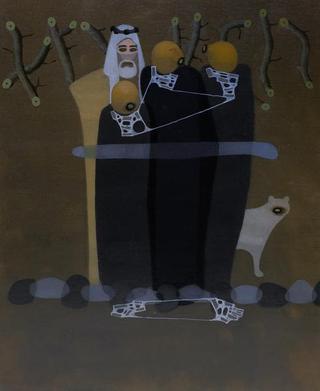 A piece depicting Yazidi women by Rajesh Srivastava; (left) Abhijit Pathak