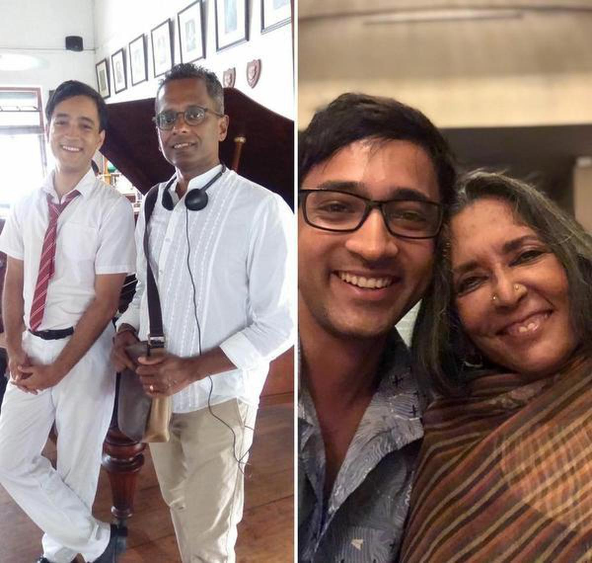 Ingram on set with writer Shyam Selvadurai, and (right) at wrap up with Deepa Mehta