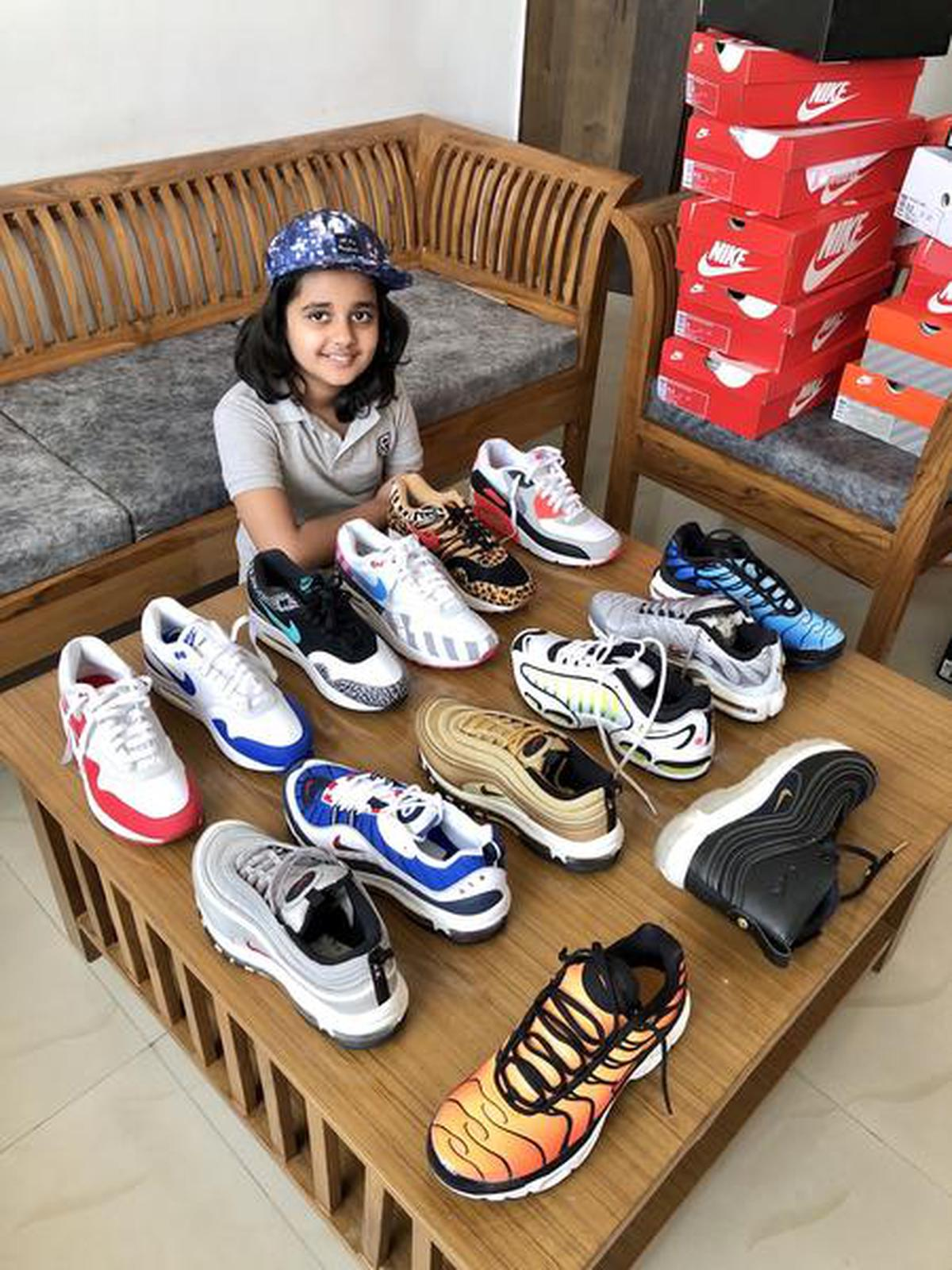 Atul Sharma's 10-year-old daughter with her budding collection of sneakers