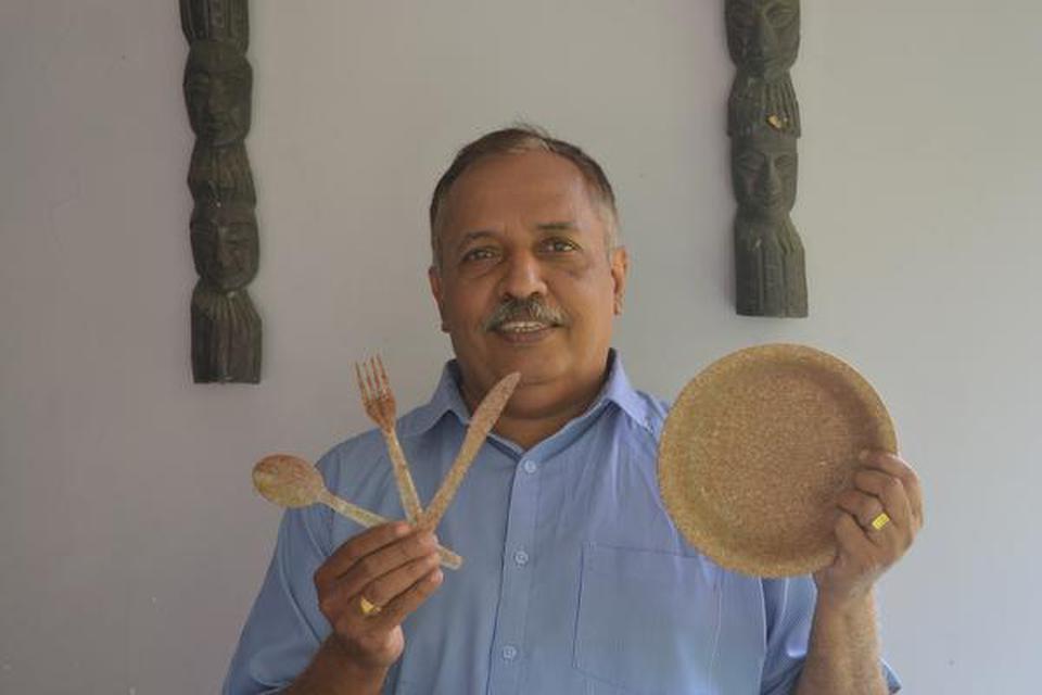 Vinayakumar B, founder of Thooshan, which makes edible plates out of wheatbran