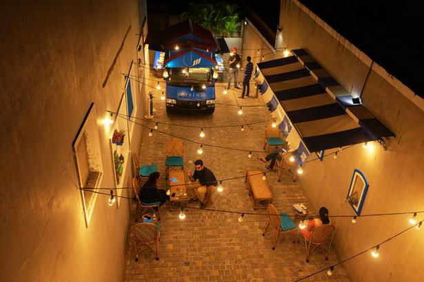 An aerial shot of the alleyway where the Sofrehh food truck sits; next to Rangoli on Road Number 36, Jubilee Hills in Hyderabad