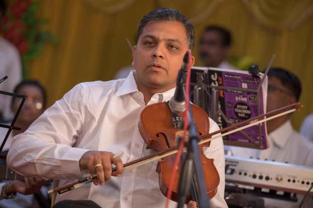 Raja Natarajan playing the violin