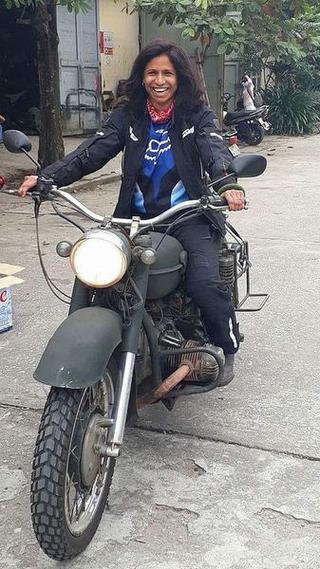 The happiness of a long-distance biker