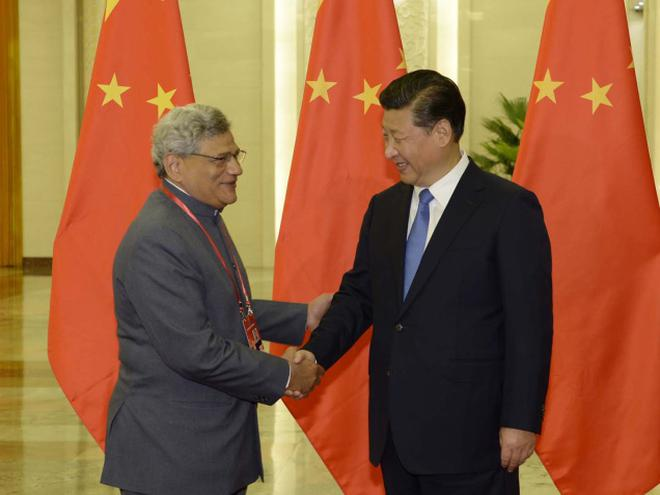 Communist party of china values ties with cpim the hindu sitaram yechury greeting chinese president xi jinping in beijing m4hsunfo