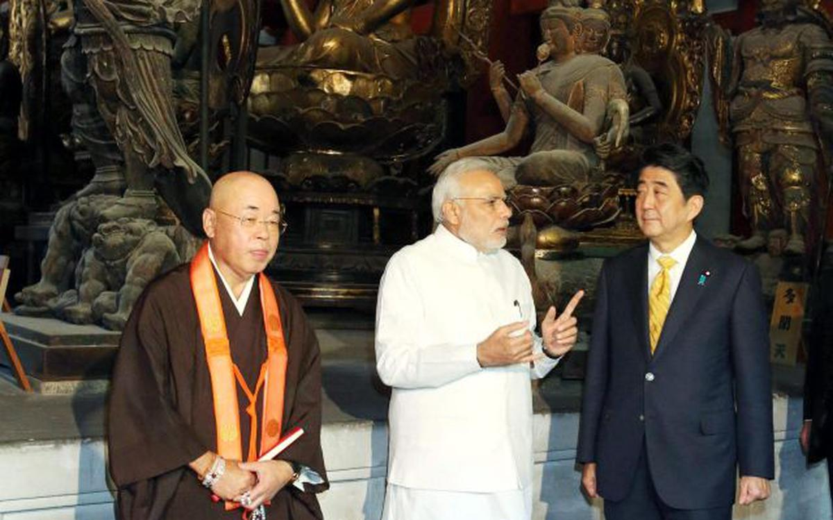 PM Modi visits ancient Buddhist temple in Japan - The Hindu