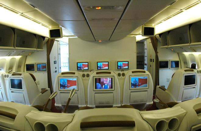 A File Picture Of Interior View Of The Business Class Cabin Of Air India Boeing  777
