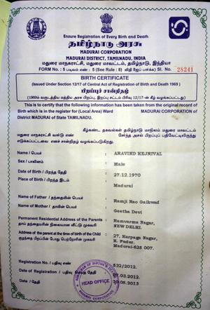 Birth Certificate Issued In The Name Of Kejriwal In Madurai  The Hindu