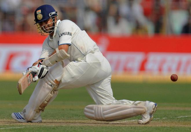 Sachin Tendulkar pulling off a sweep shot