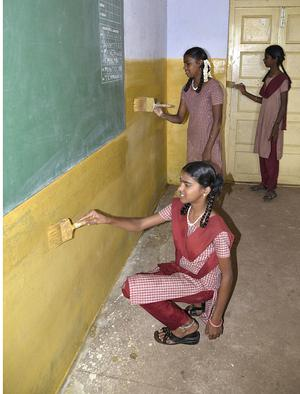 students paint walls at government school the hindu