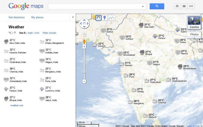 Google maps adds a weather layer the hindu a google maps screengrab shows weather data from across india gumiabroncs Image collections