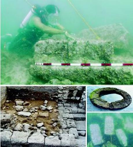 THE QUEST: An underwater archaeologist of the ASI examines an ancient structure off the shore of Dwaraka; a circular structure on the shore at Dwaraka; fragment of an ancient structure found underwater; remains of an ancient structure in the forecourt of the Dwarakadhish temple.