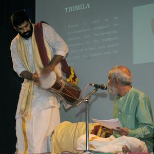 Dr M N Moorthy In His Lec Dem On Percussion Instruments Of Kerala