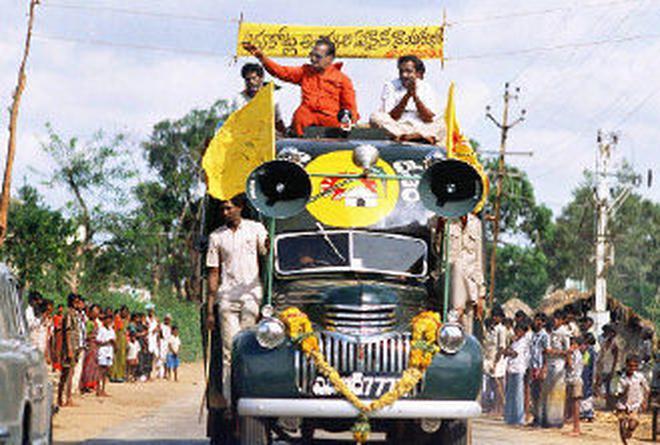 N.T. Rama Rao campaigning on his 'Chaitanya ratham.'