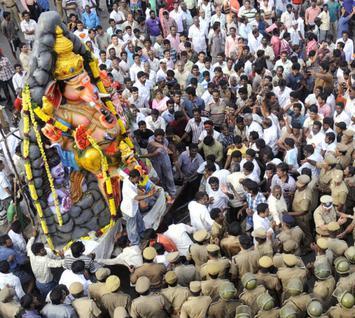 A Vinayaka idol being taken to the Marina Beach. File photo