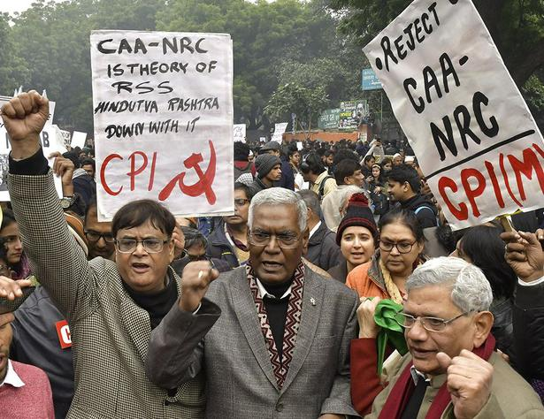 Left leaders Sitaram Yechury and D. Raja take part in a protest at Jantar Mantar in New Delhi on December 19, 2019.