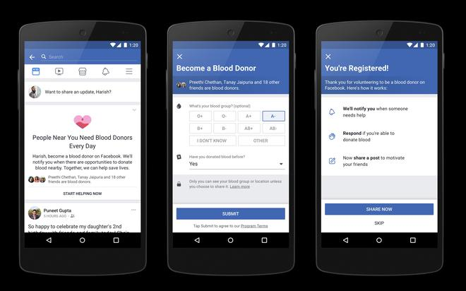 Facebook new feature to help connect blood donors with recipients