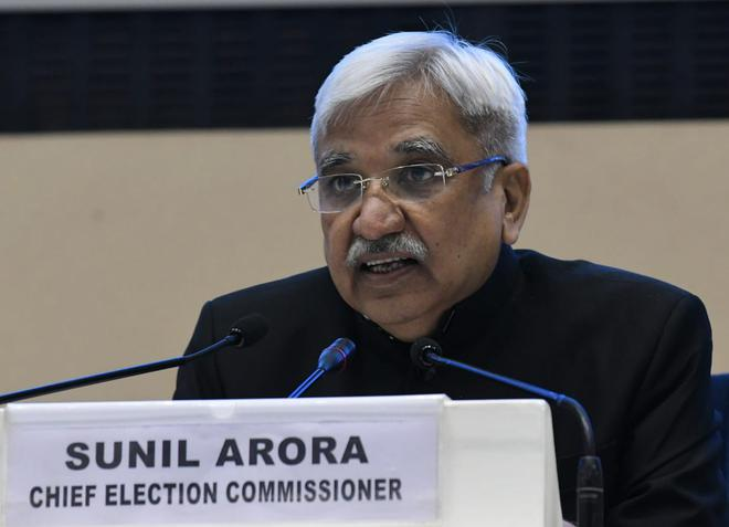 Chief Election Commissioner of India Sunil Arora addressing media to announce the dates for the General Elections 2019.