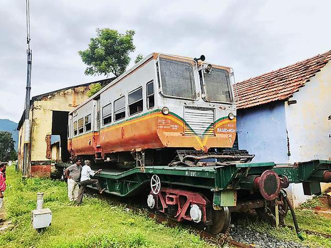 The rail bus that was brought to Mettuppalayam for the trial run on the Coonoor - Udhagamandalam section of Nilgiris Mountain Railway.