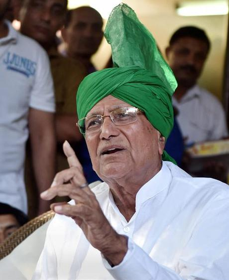 Indian National Lok Dal supremo Om Prakash Chautala addresses a press conference in New Delhi. File Photo.