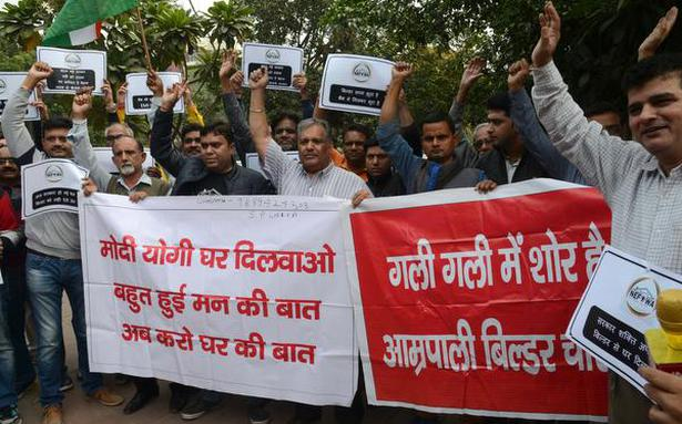 Homebuyers protest outside BJP office