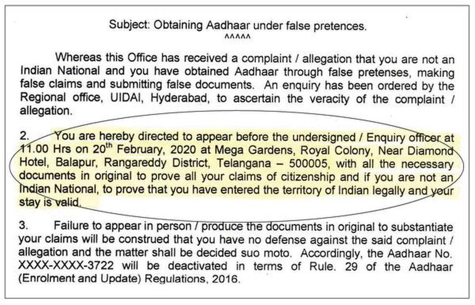 Notice sent by the Unique Identification Authority of India to Mohammed Sattar Khan of Hyderabad.