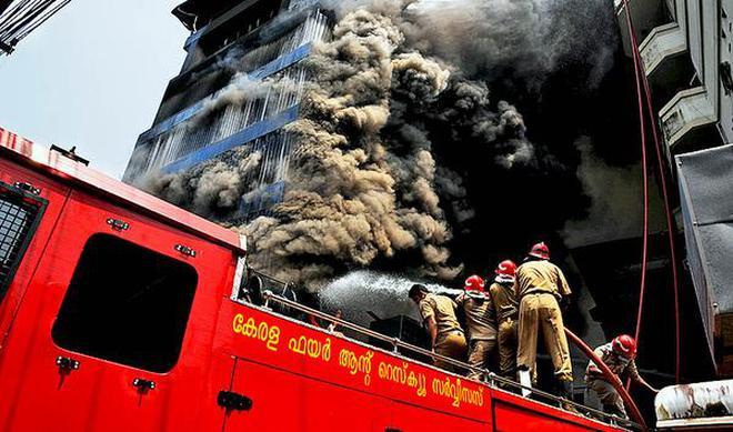 massive fire at footwear godown near south station rattles kochi