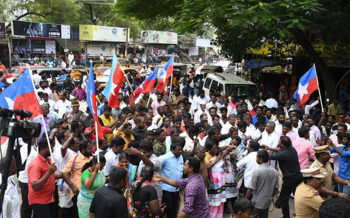 VCK cadre protest in Madurai against release of Melavalavu convicts - The  Hindu