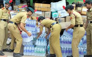 NCC cadets hand over relief materials