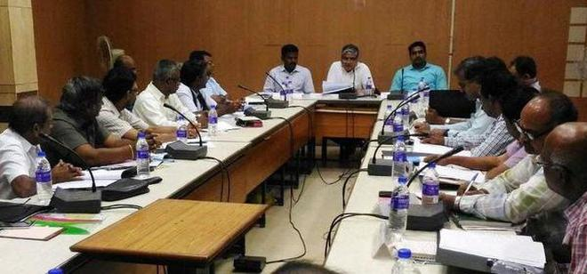 Divisional Railway Manager A.K. Agarwal (centre) presiding over the Divisional Railway Users' Consultative Committee meeting held at Tiruchi on Wednesday.