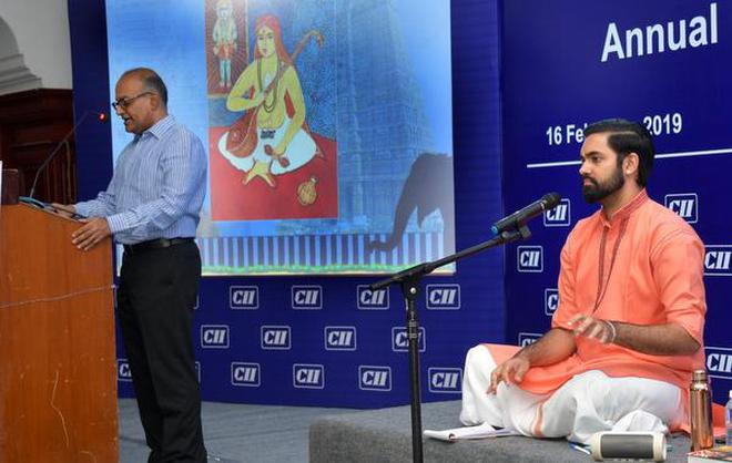 Music historian V. Sriram along with Carnatic Singer Ashwath Narayanan at the CII Tiruchi Annual Day celebration on Saturday.