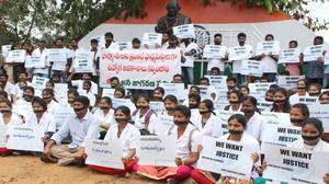 Pharma students' silent protest in Vizag