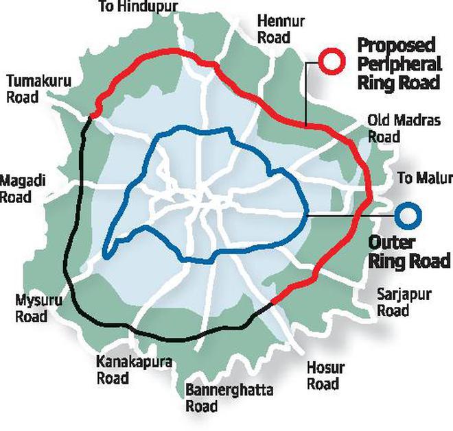 Peripheral Ring Road Bangalore Map Cabigives nod to 65 km Peripheral Ring Road   The Hindu Peripheral Ring Road Bangalore Map