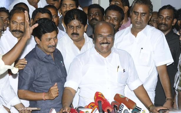 Finance Minister D Jayakumar and other ministers addressing media, in Chennai on Monday.