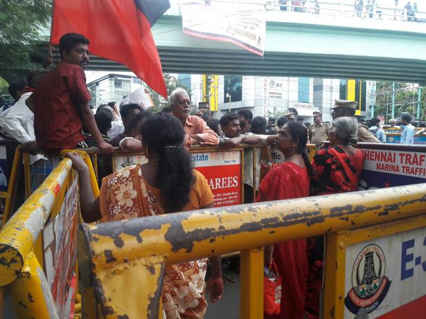 Separate enclosure for women cadre outside Kauvery Hospital where where former TN CM M. Karunanidhi is admitted, Chennai, August 7, 2018