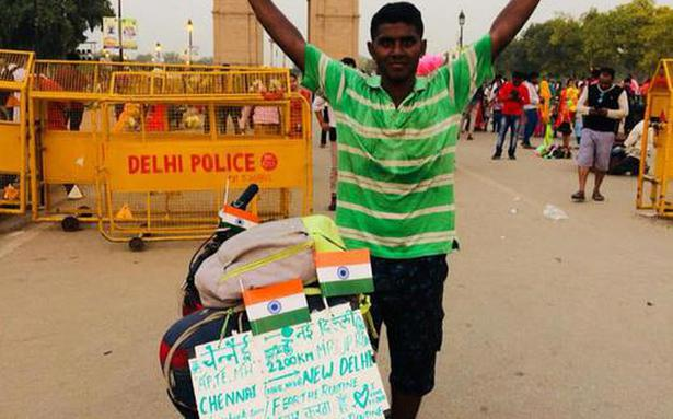 Ramapuram resident cycles to India Gate