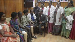 4 amputees get artificial limbs under govt. insurance scheme