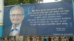 Billboards hail Amartya Sen's view on 'Jai Shri Ram' slogan