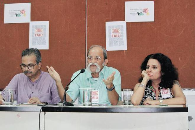 Fight for privacy: G. Nagarjuna, Vickram Crishna and Kamayani Bali Mahabal at the meeting in Mumbai on Thursday.