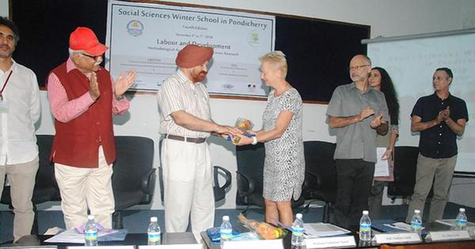 Sharing knowledge: Pondicherry University Vice-Chancellor Prof. Gurmeet Singh and French Consul General Catherine Suard at the launch of the Social Sciences Winter School.