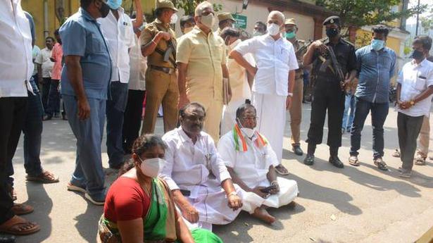 Puducherry CM launches dharna near Goubert Statue