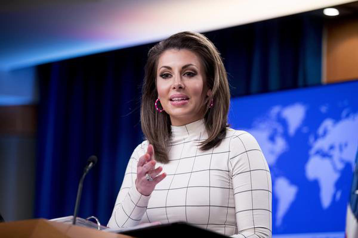 State Department spokesperson Morgan Ortagus speaks at a news conference at the State Department in Washington.