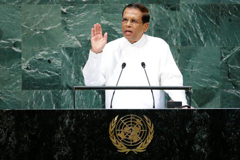 Sri Lankan President Maithripala Sirisena addresses the 73rd session of the United Nations General Assembly at U.N. headquarters in New York.