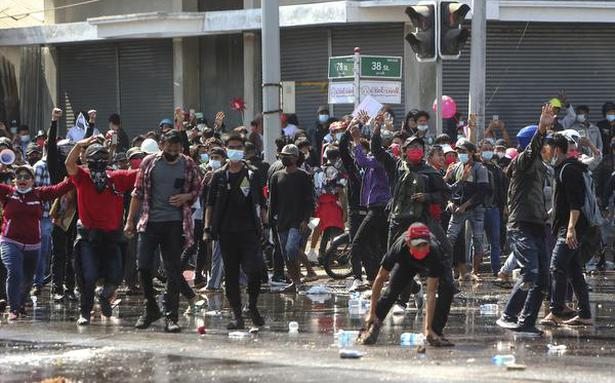 Myanmar police fire rubber bullets at anti-coup protesters