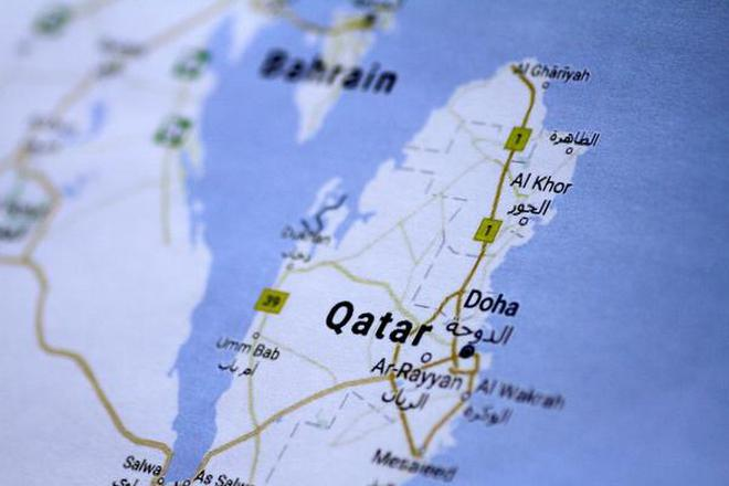 a map of qatar is seen in this picture illustration