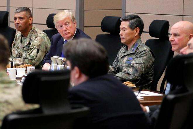 Image result for Trump reviews military forces in South Korea amid tensions