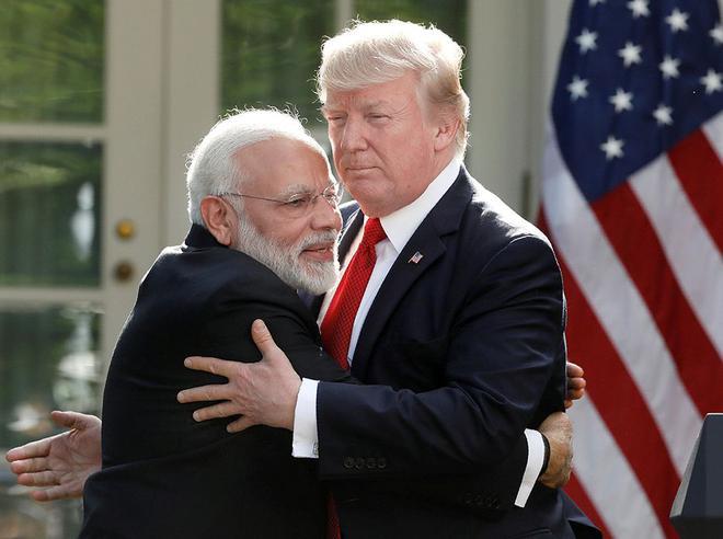 Hard bargain: In his speech, Donald Trump called Narendra Modi 'fantastic and beautiful'.